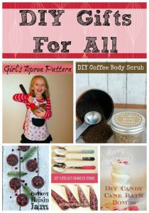 Sugar scrub, kids apron, fun foodie gifts, and a whole lot more!  These great diy gifts are perfect for anyone on your list!