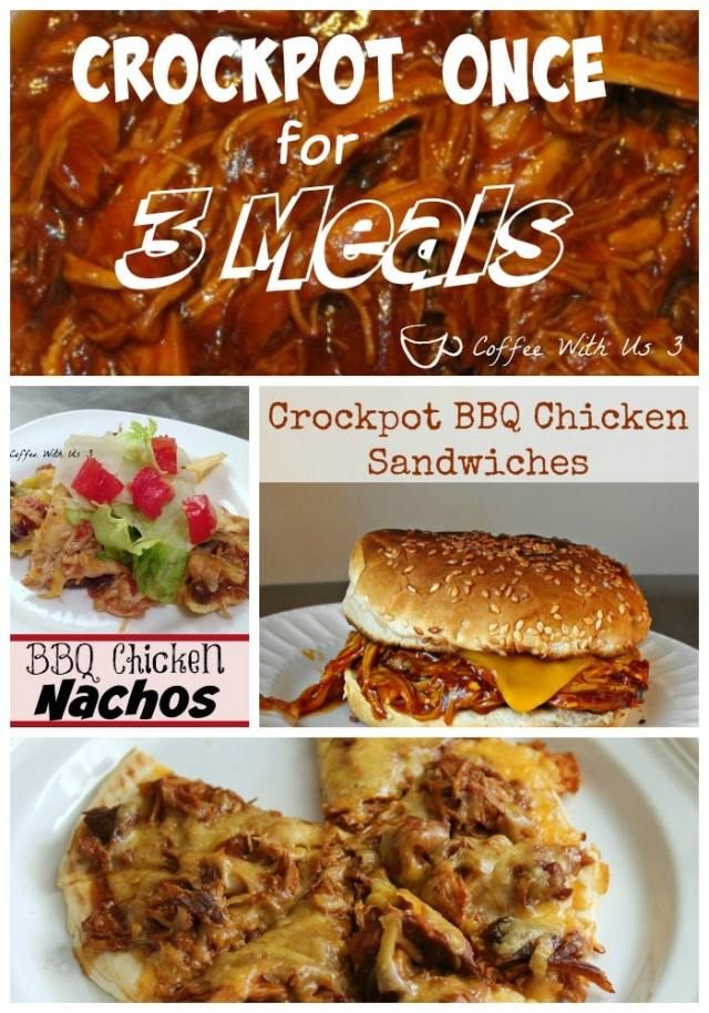 Crockpot BBQ Chicken Once and have 3 delicious meals: crockpot bbq chicken sandwiches, bbq chicken nachos, & bbq pulled chicken mini pizzas.