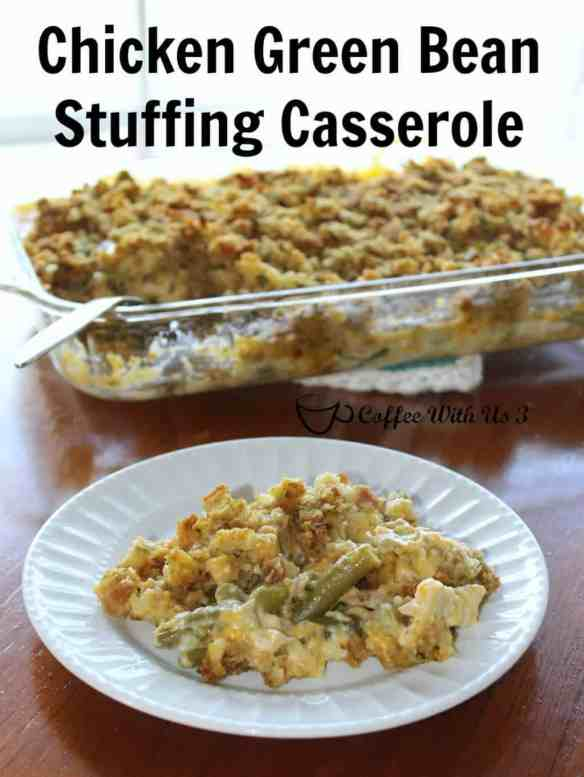 Chicken Green Bean Stuffing Casserole Recipe   This casserole is a creamy, cheesy comfort food your whole family will love! Click the pin to get the recipe.
