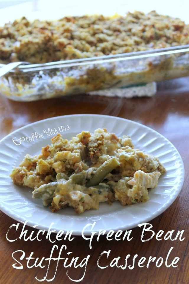 Chicken Green Bean Stuffing Casserole Recipe | This casserole is a creamy, cheesy comfort food your whole family will love! Click the pin to get the recipe.