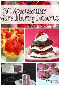 50 spectacular strawberry dessert recipes including strawberry pie, shortcake, cookies, cake, and so much more.