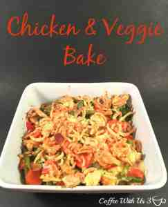 Chicken and Veggie Bake is a hearty casserole and a great way to sneak in chicken. This creamy casserole is great tasting and easy to make.