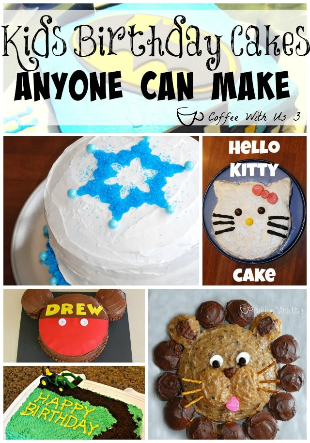 Over 20 Kids Birthday Cake Ideas that Anyone Can Make.  You don't have to be a great cake decorator to impress your children with these ideas!!
