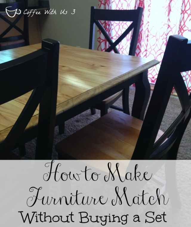 How to Make Furniture Match, Without Buying a Set - Tips & Tricks to Make Yard Sale, Thrift Store, & Store Bought Furniture look like it goes together.