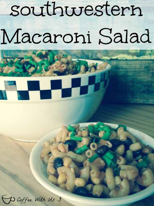 Southwestern Macaroni Salad - Easy, Delicious, and made with no Mayo, this macaroni salad is a hit for bbq's or just a weeknight dinner.