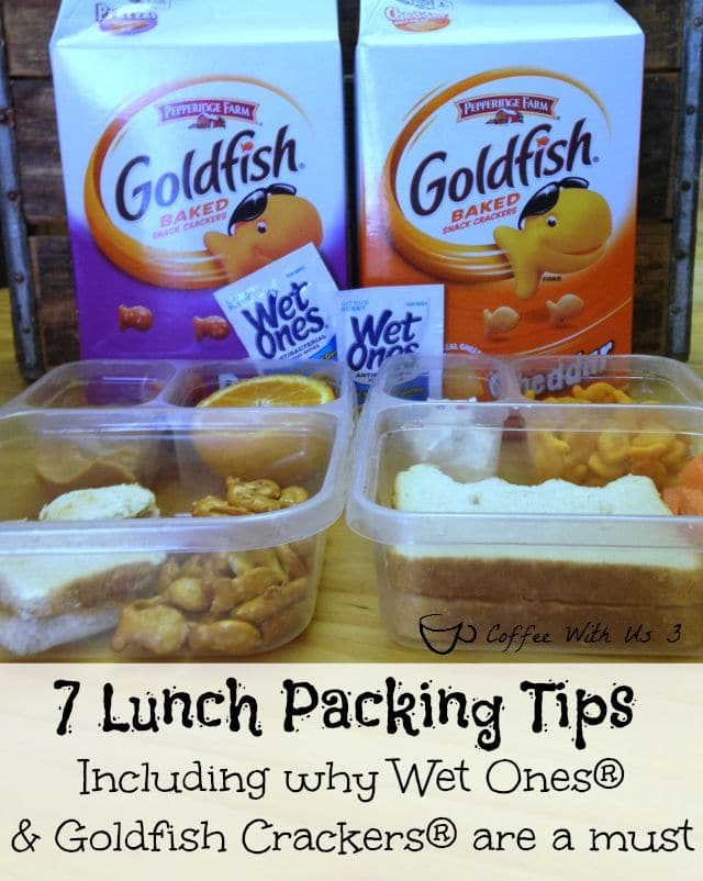 7 tips for packing back to school lunches including why Wet Ones® singles and Pepperidge Farm® Goldfish Crackers are a must! #sponsored