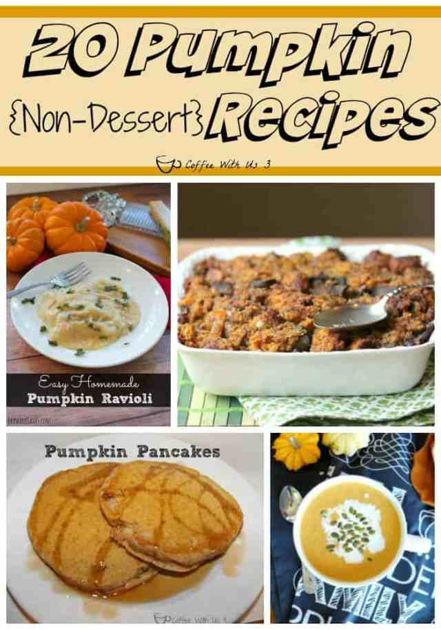 If you love pumpkin, you need to check out these 20 great pumpkin recipes!  From breakfast to dinner these are delicious non-dessert pumpkin recipes.