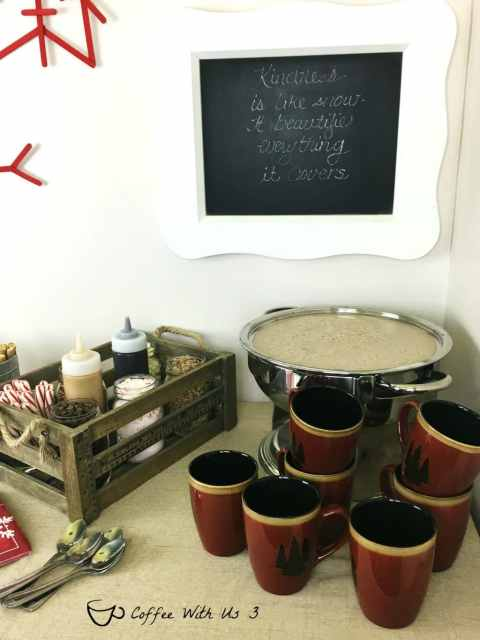 What better way to endure all the snow and cold than with a Hot Cocoa Bar.  A fun way to have a party and stay warm during the winter.