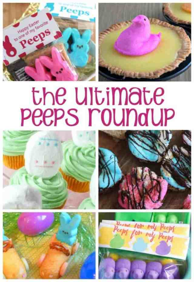It's the Ultimate Peeps Roundup: desserts, drinks, printables, dips, and more, all centered around the iconic Easter Peeps marshmallows!