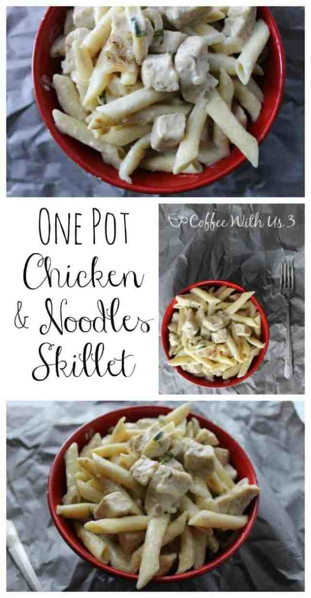 One Pot Chicken and Noodles Skillet is a quick and easy dinner recipe that is ready in less than 30 minutes, and only requires washing one skillet!