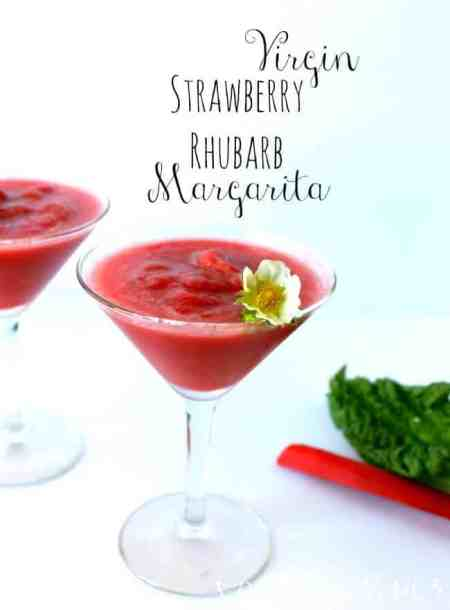 Virgin Strawberry Rhubarb Margaritas   Coffee With Us 3 - A sweet, tart, refreshing mocktail recipe your family is sure to love!