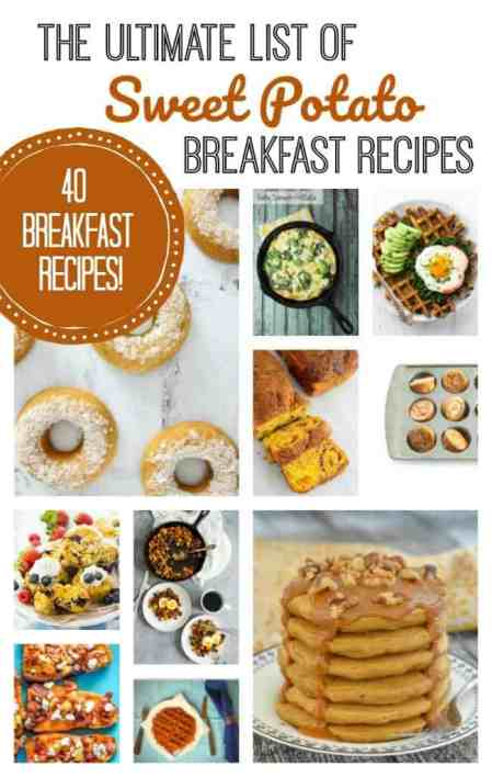 The Ultimate collection of Sweet Potato Breakfast Recipes! 40 recipes, including breads, waffles, pancakes, breakfast casseroles, and more!