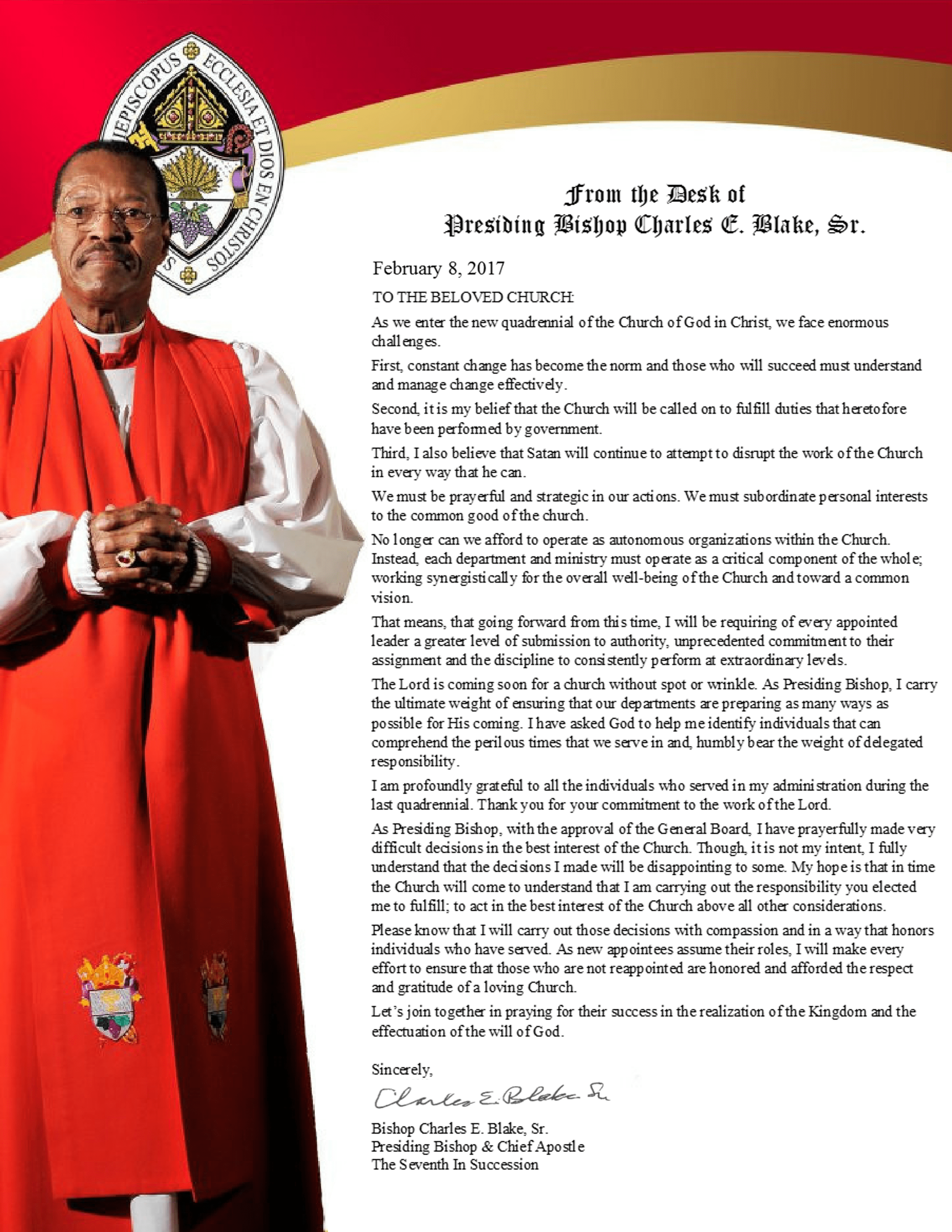 Updated Presiding Bishop S Quadrennial Appointments