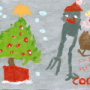 GANADOR Categoría de 3 a 7 años «Tyrannosaurus rex en Navidad» (nº 3) Autor: Martín (3 años)