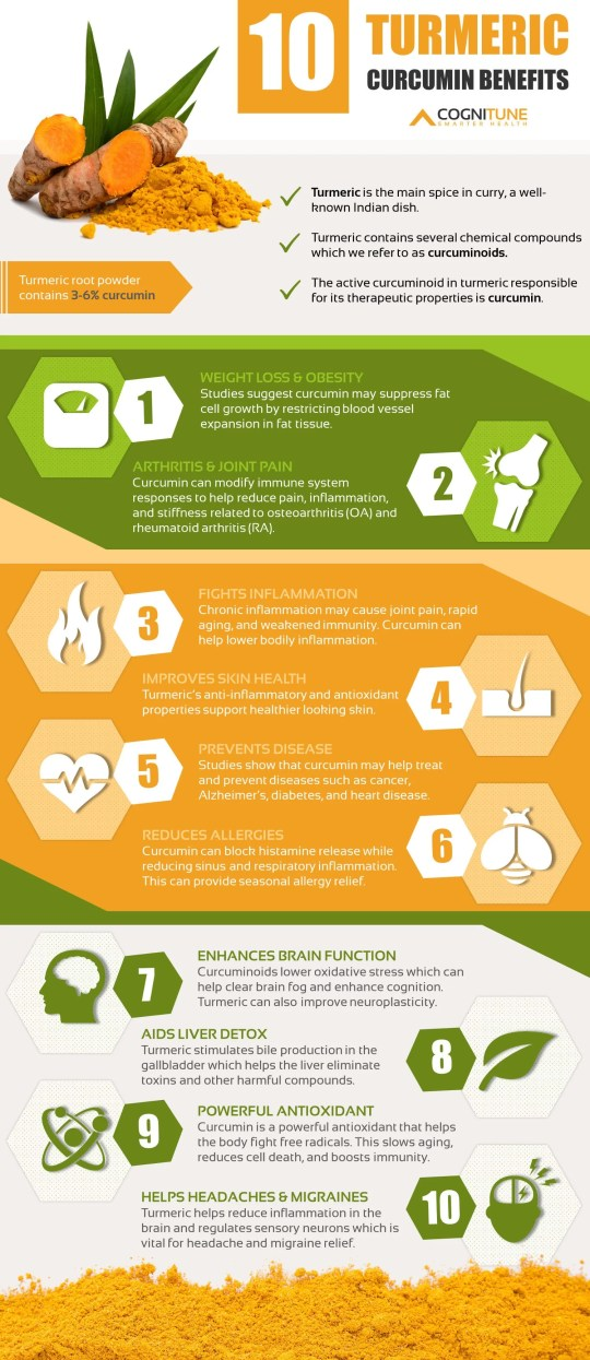 10 Turmeric Curcumin Health Benefits and Uses Infographic