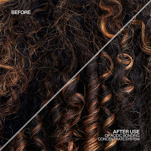 Acidic Bonding Concentrate avant après cheveux bouclés