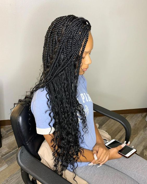 bohemian box braids on natural hair