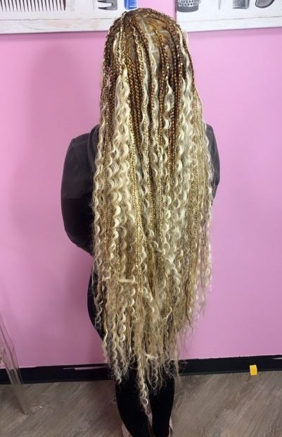 knee length bohemian box braids