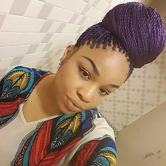 Purple Senegalese twists