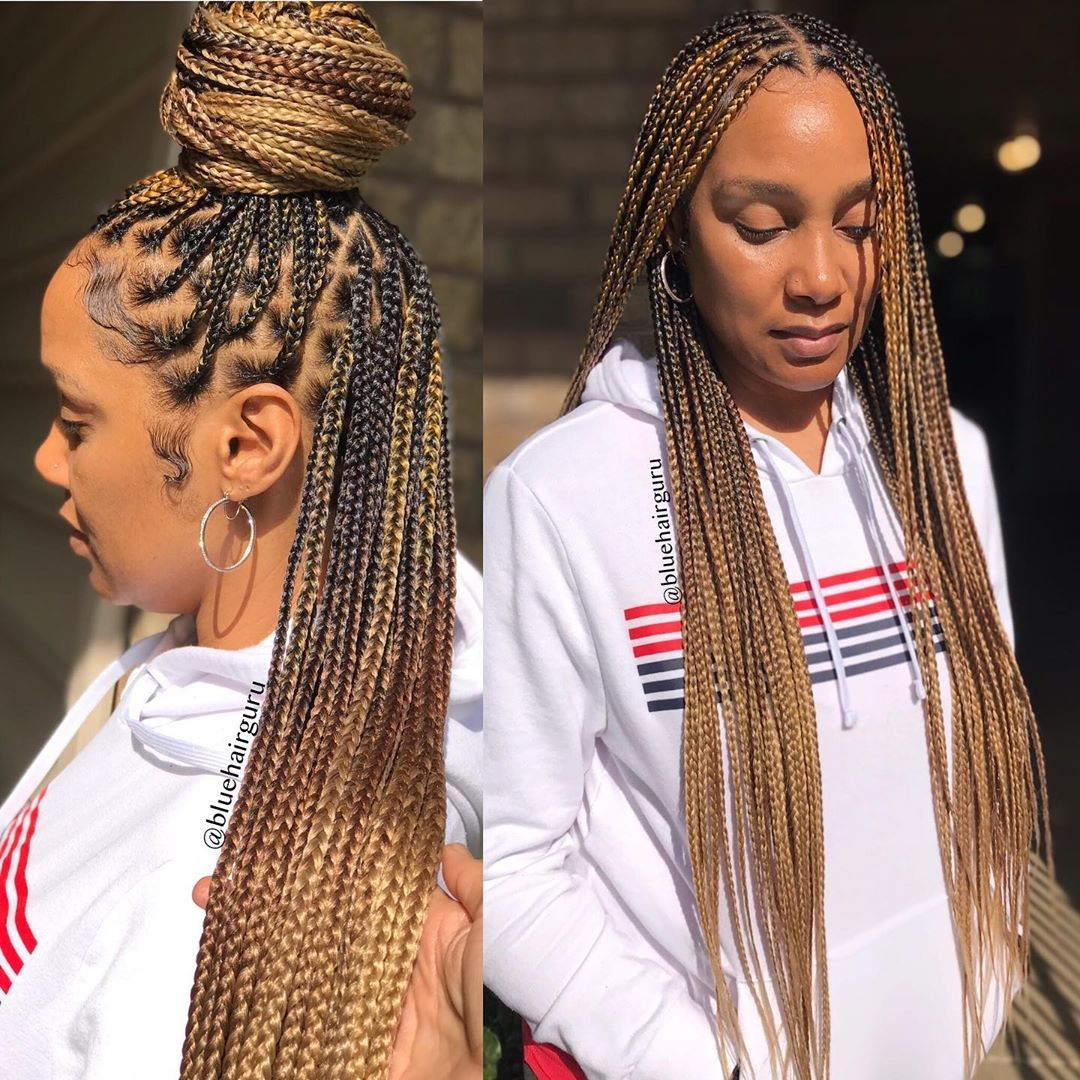 box braids bun styles
