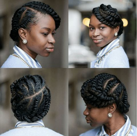 flat twist hairstyles on 4a hair