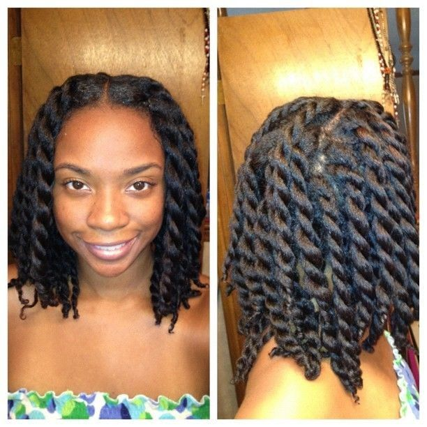 two strand twist on heat stretched hair