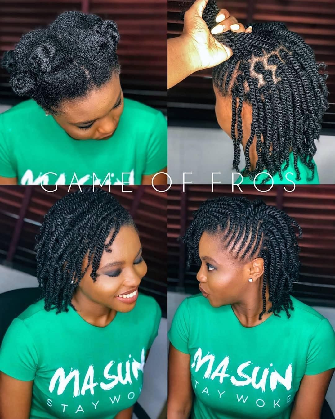 two strand twist with flat twists on 4c hair