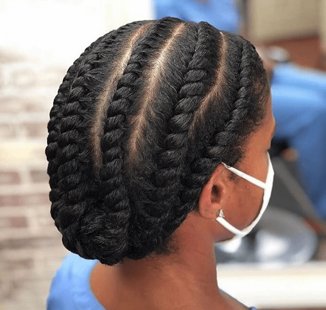 chunky flat twists on long natural hair