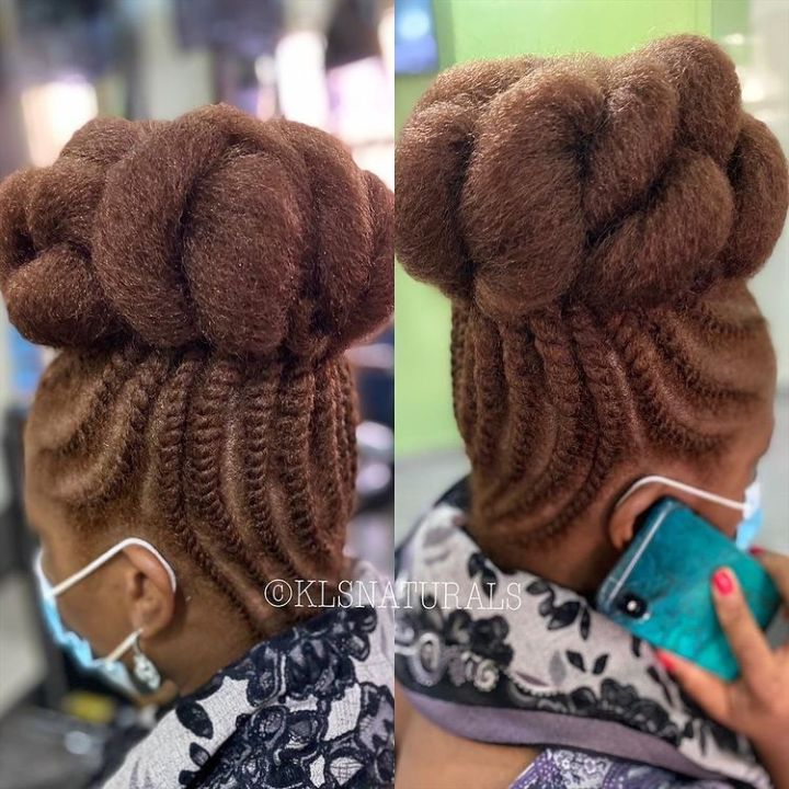 flat twists on natural hair in an updo