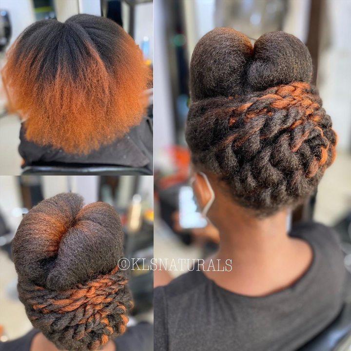 beautiful natural hair up-do on medium length hair
