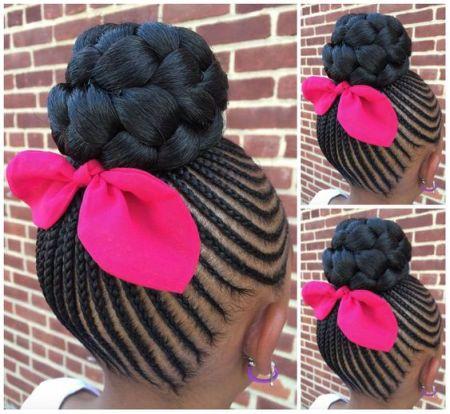little black girl braids updo