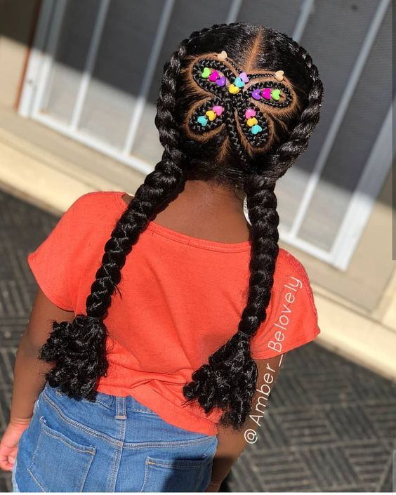 little black girl cornrows with beads