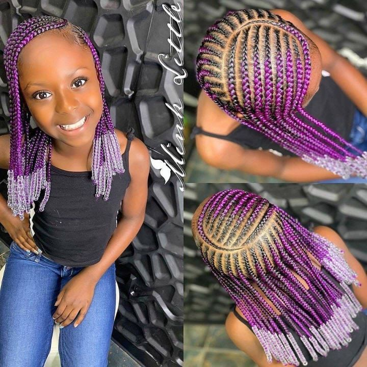 little girl cornrows with beads
