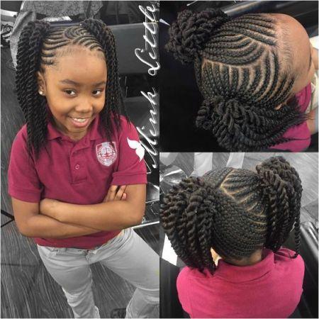 little black girl braids two ponytails