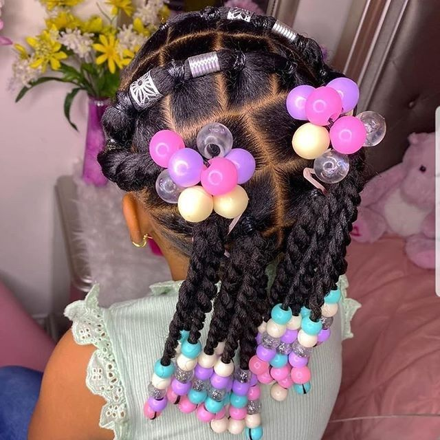 black kids rubber band hairstyle with beads