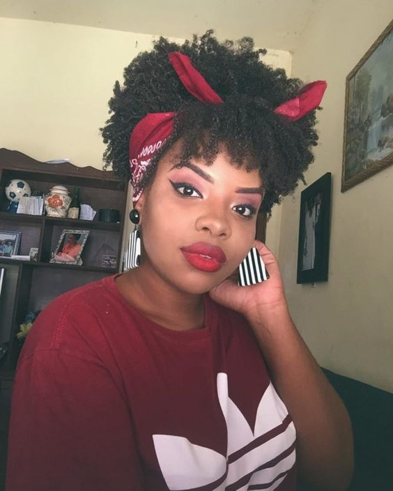 afro puff with bangs and scarf