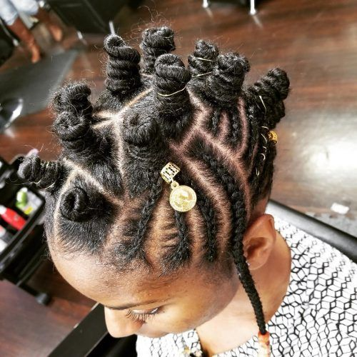 bantu knots hairstyles with cornrows