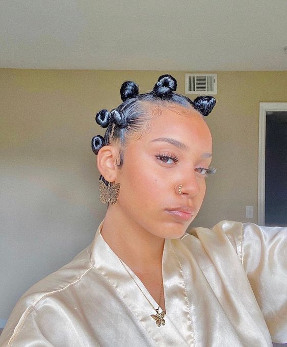 Bantu Knots on Relaxed Hair