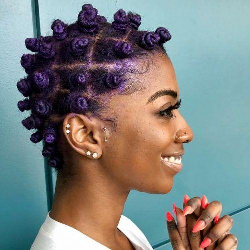 Purple Bantu Knots on Short Hair