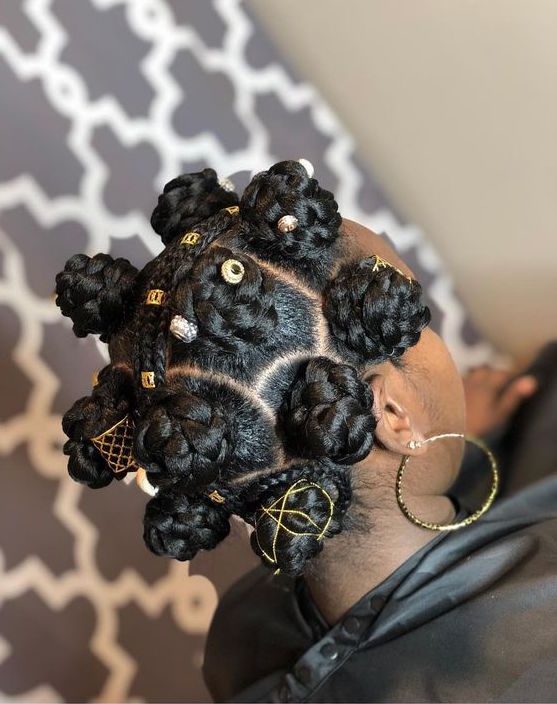Braided bantu knots with accessories
