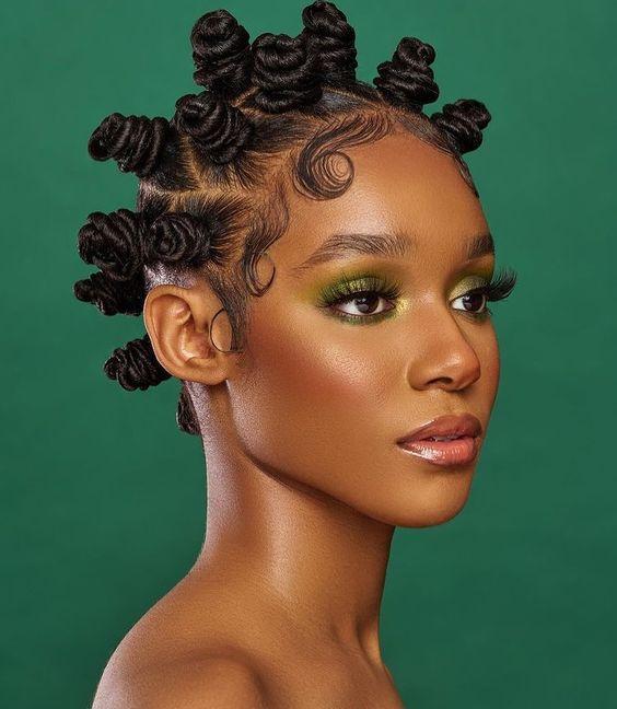 stylish bantu knots on long hair