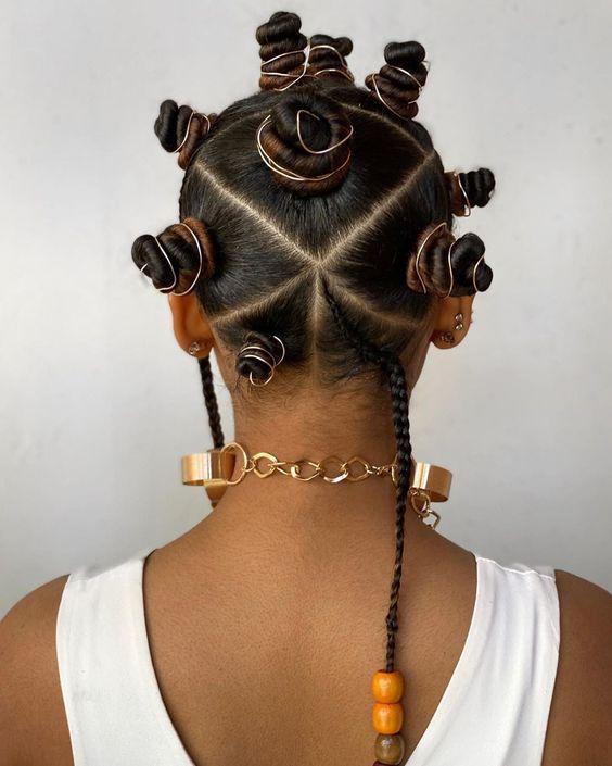accessorized bantu knots