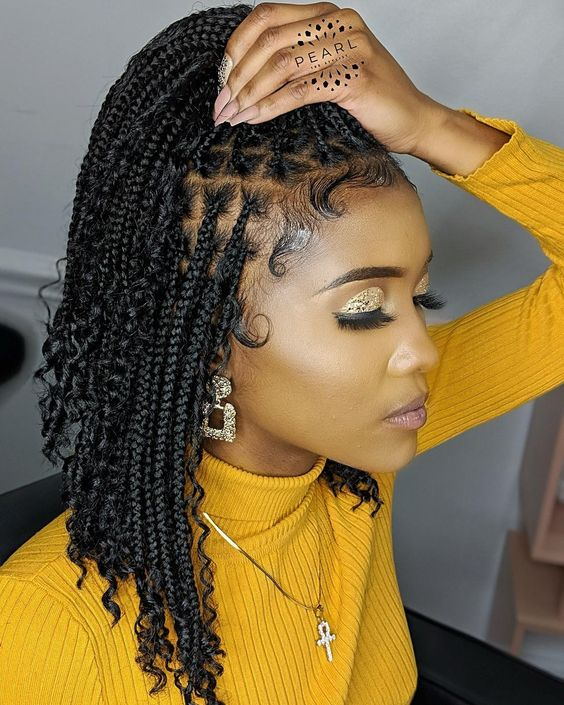 shoulder length bohemian box braids