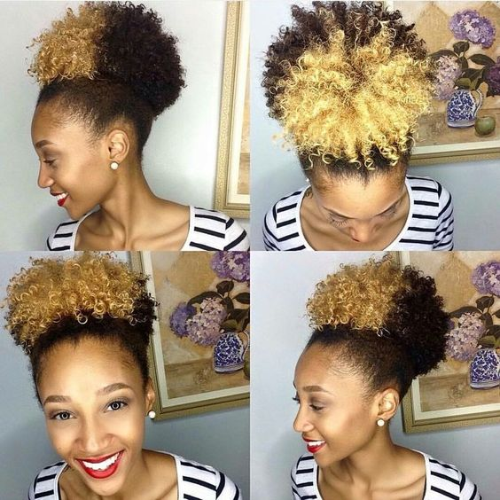 Blonde afro puff on a black woman