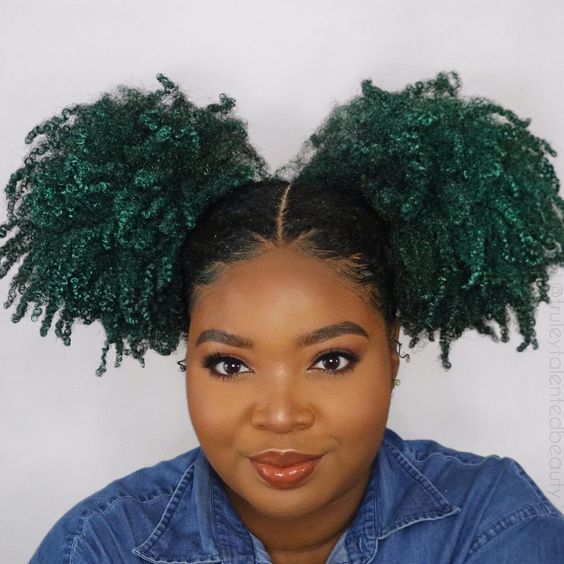 mega double afro puff with temporary green hair dye