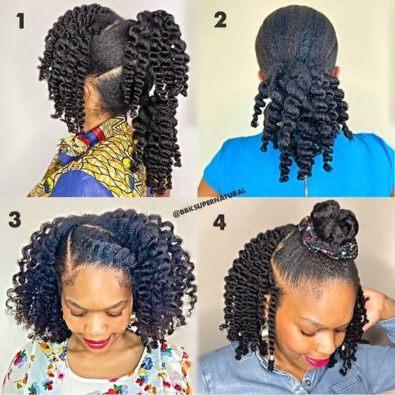 4c natural hairstyle on long hair