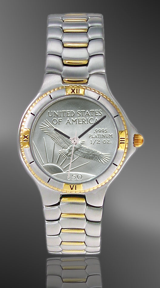 Coinwatch Brand Mens Platinum Eagle Coin Watch UC125 PL509 2