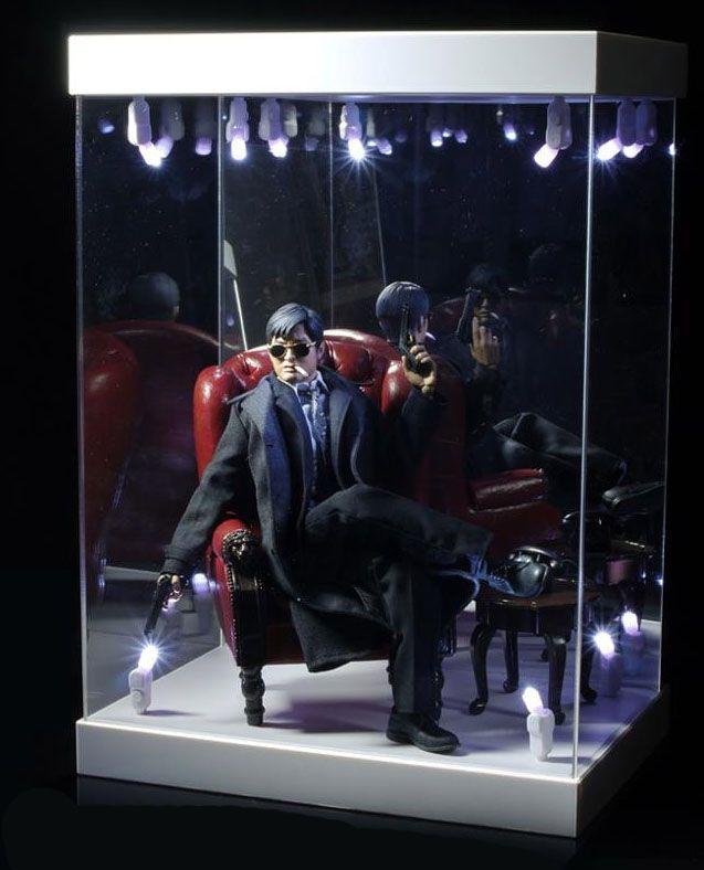 presentoir vitrine acrylique avec eclairage pour figurines 1 6 blanc