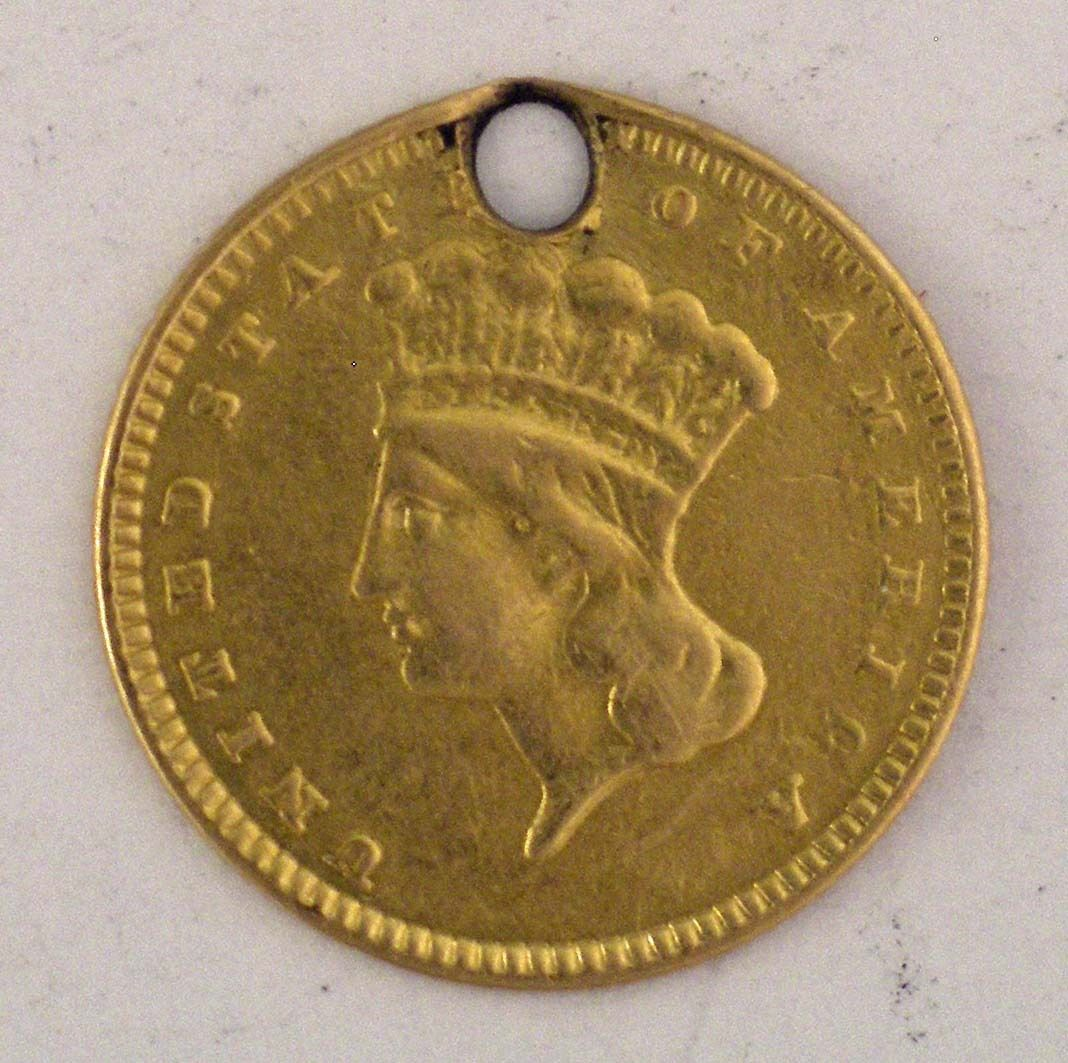 United States Gold One Dollar Coin Pierced