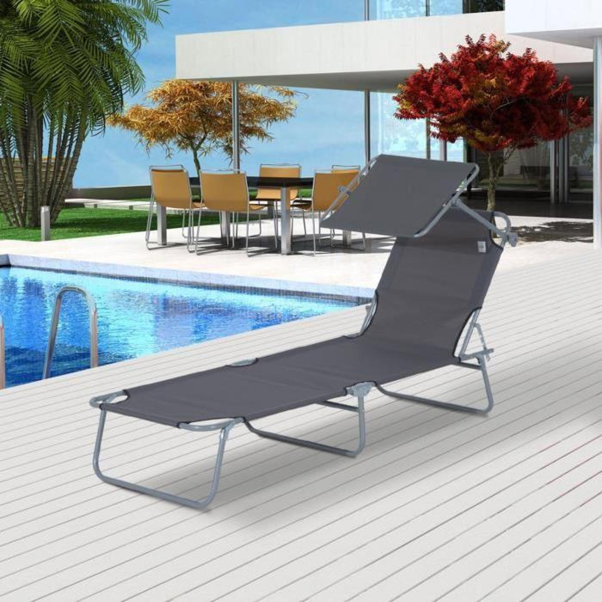 outsunny bain de soleil transat pliant avec pare soleil reglable gris 01gy achat vente chaise longue pliante pas cher coindujardin com